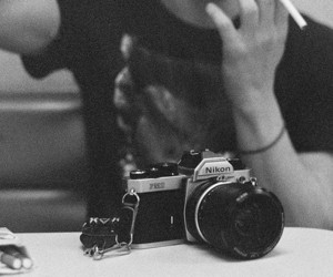 camera, smoke, and black and white image