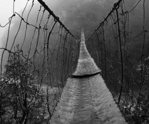 black and white, bridge, and alone image