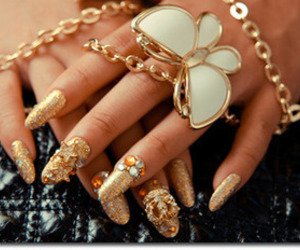 nails, gold, and butterfly image