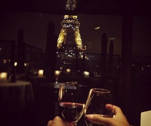 paris, wine, and couple image
