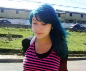 blue hair, girl, and pink image