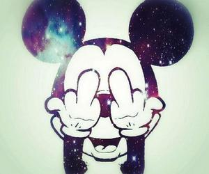 fuck, galaxy, and mickey mouse image