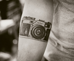 camera, tattoo, and nikon image