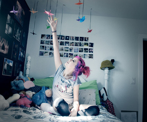 girl, hair, and room image