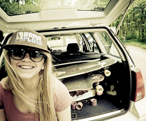 skate, girl, and longboard image