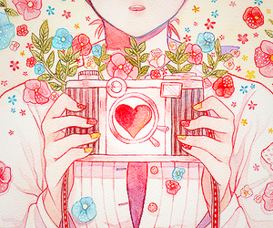anime, camera, and flowers image