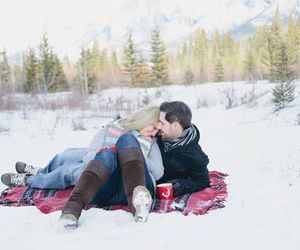 kissing, winter, and snow image