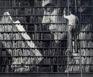 black&white, books, and criative image