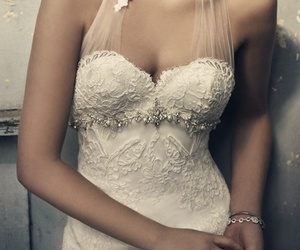 dress, wedding dress, and bride image