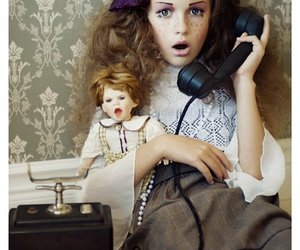 doll, phone, and telephone image