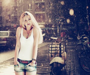 girl, blonde, and snow image