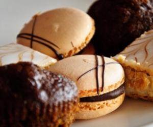 food, macarons, and chocolate image