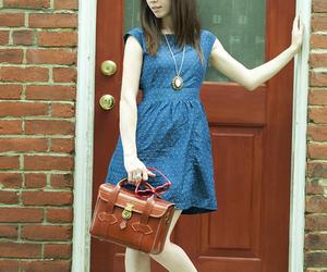 bag, blue, and blue dress image