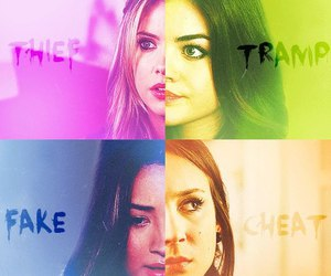 pretty little liars, cheat, and fake image