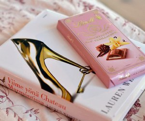 book, chocolate, and heels image