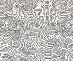 waves, black and white, and background image
