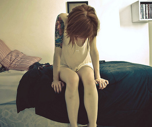 girl, tattoo, and bed image