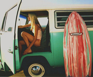 beach, green, and surfboard image