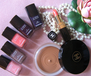 chanel, pearls, and cosmetics image