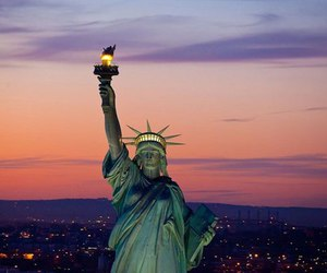 city, new york, and statue of liberty image
