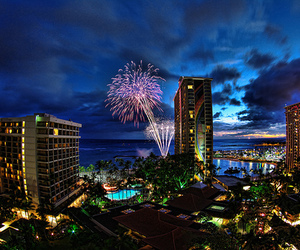 city, fireworks, and photography image