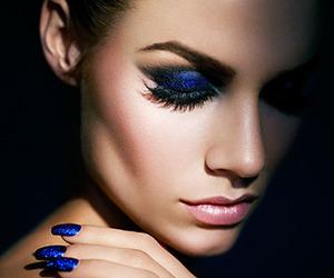 blue, nails, and makeup image