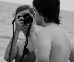 black and white, boy and girl, and camera image