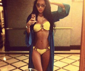 body, sexy women, and yellow bikini image