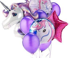 unicorn, purple, and balloon image