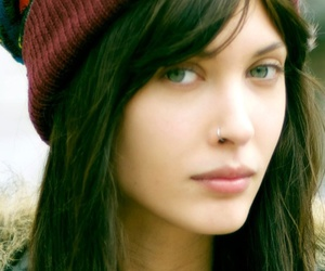 beanie, brown, and eyes image