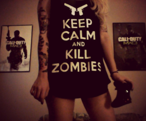 girl, zombies, and keep calm image