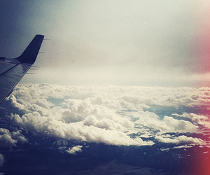clouds, sky, and airplane image