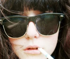 girl, cigarette, and glasses image