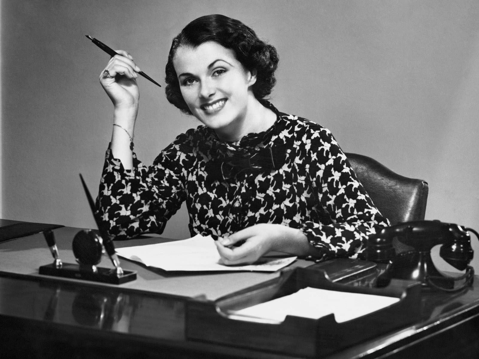 retro, woman, and work image