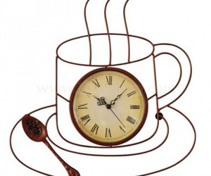 coffee cup, gift, and wall clock image