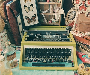 typewriter, owl, and vintage image
