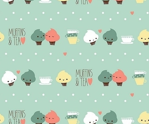 muffin, tea, and cute image