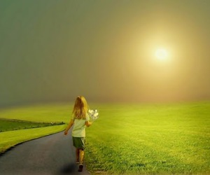 little girl, path, and sun image