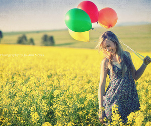 girl, balloons, and flowers image