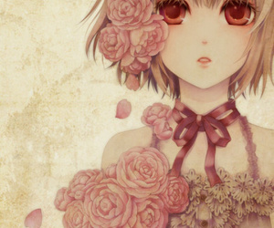 anime, rose, and flowers image
