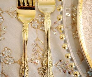 gold, fork, and luxury image