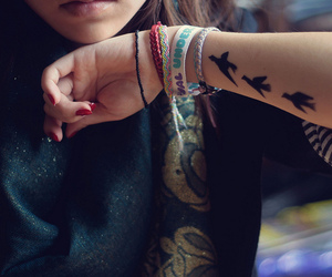 girl, tattoo, and bird image