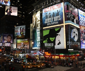 advertisement, city, and time square image
