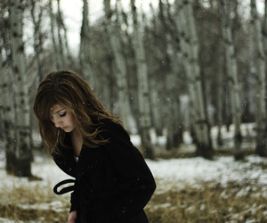 girl, snow, and alone image