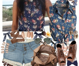 clothes, denim, and floral print image