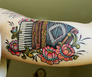 tattoo, accordion, and flowers image