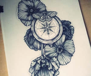 tattoo, compass, and flowers image