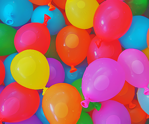 balloons, blue, and fun image