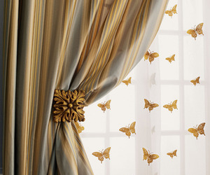 butterflies, curtains, and gold image