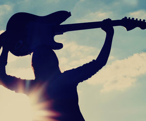 guitar, clouds, and man image
